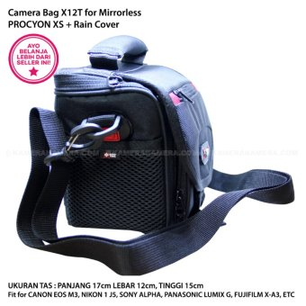 CAMERA BAG X12T PROCYON XS + Rain Cover Fit for Mirrorless Canon EOS M3, Nikon 1 J5, Sony Alpha, Panasonic Lumix G, Fujifilm X-A3, etc