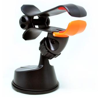 360 Rotation Car Suction Cup Smartphone Holder - Black