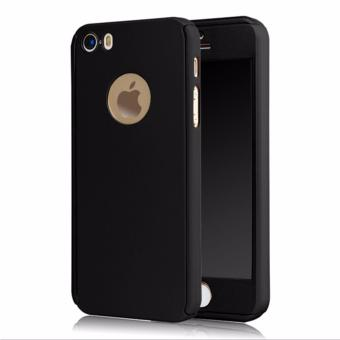 Hardcase Case 360 Iphone 5/5s/5SE Casing Full Body Cover - Hitam + Free Tempered Glass