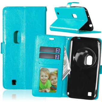 PU Leather Flip Stand Case Cover For Asus Zenfone Zoom ZX551ML (Blue)
