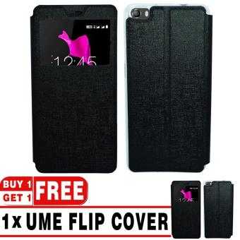 BUY 1 GET 1   UME Flip Cover Case Leather Book Cover Delkin for Smartfren Andromax R2 - Black + Free UME Flip Cover Case