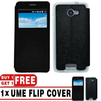 BUY 1 GET 1   UME Flip Cover Case Leather Book Cover Delkin for Smartfren Andromax E2 - Black + Free UME Flip Cover Case