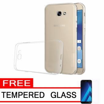 Softcase Silicon Ultrathin for Samsung Galaxy A3 2017 – White Clear + Free Tempered Glass