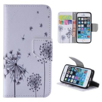 Harga Case for iPhone SE 5SE 5 5S Flip Leather Wallet Magnetic Closure Case - Dandelion