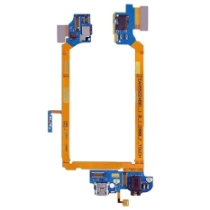 IPartsBuy USB Charging Connector Port Flex Cable and Earphone Audio Jack Flex Cable and Microphone Flex Cable Replacement For LG G2 / D800 / D801 / D803 / D800T (Gold)