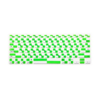 JH Silicone Keyboard Cover Skin 11.6 Inch (Mosaic White Green)