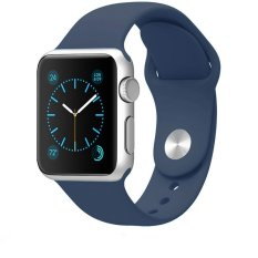JTS Soft Silicone Replacement Sport Band For 42mm Apple Watch Models, Midnight Blue (3 Pieces Of Bands Included For 2 Lengths, Not Fit 38mm Version 2015)