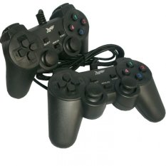 K-One Gamepad Double Getar / Gamepad Double Stik USB / Stik PC Kone High Quality - Hitam