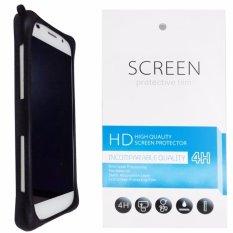 Kasing Silikon Universal Bumper Case Wadah Cover Casing - Hitam + Gratis 1 Clear Screen Protector untuk BlackBerry DTEK60