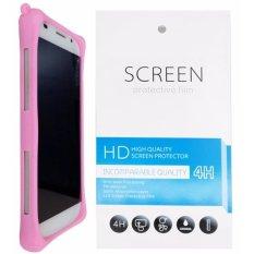 Kasing Silikon Universal Bumper Case Wadah Cover Casing - Merah Muda + Gratis 1 Clear Screen Protector untuk Sony Xperia Z4 Compact
