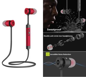 Kebisingan Membatalkan Logam Earphone Nirkabel Bluetooth Berkualitas Tinggi Earphone Sweatproof Earphone Olahraga Lari Headset (Red