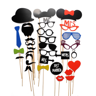 Photo Booth Props Mustache 31-piece Set