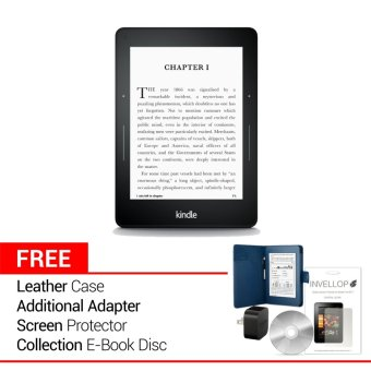 Kindle Voyage – 4 GB – Hitam + Gratis Leather Case + Adapter + Screen Protector + Ebook Disc