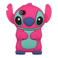 Leegoal Hot Pink lucu 3D Stitch dengan karet silikon lembut telinga bergerak penutup Case cocok untuk