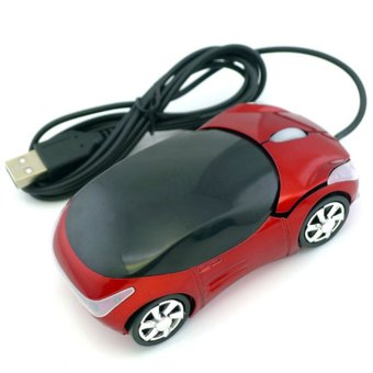 Makiyo Innovative Car Shape USB Optical Wired Mouse With 2 Headlights (Red) - Intl