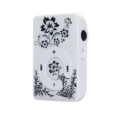 Mini Clip Flower Pattern MP3 Player Music Media Support Micro SD TF Card White
