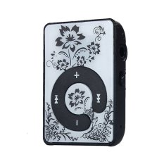 Mini Clip Flower Pattern MP3 Player Music Media Support Micro SD TFCard Black - Intl