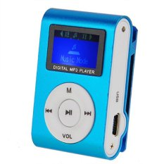 Mini Clip Metal Mp3 Player with LCD Screen and Micro / TF Slot For Mini SD Card Mp3 (Blue)