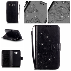Moonmini Diamonds Butterfly PU Leather Flip Stand Cover for Samsung Galaxy J3 (2016) J310 (Black)