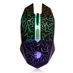 New Adjustable DPI USB Wired Gaming LED Mouse (Black)