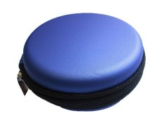 NiceEshop Portable Waterproof PU Leather Headphone Bag Earphone Pouch Case (Blue) (Intl)