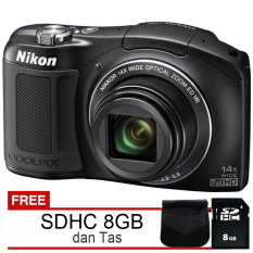 Nikon Coolpix L620 - 18MP CMOS Full HD + Gratis SDHC 8GB dan Tas - Hitam