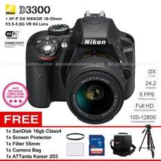 NIKON D3300 (BLACK) + AF-P DX NIKKOR 18-55mm f/3.5-5.6G VR Kit Lens 24.2 MP Full HD + Filter 55mm + SanDisk 16Gb + Screen Protector + Camera Bag + ATTanta Kaiser 203