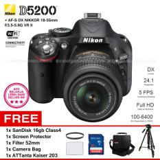 NIKON D5200 (BLACK) + AF-S DX NIKKOR 18-55mm f/3.5-5.6G VR II Kit Lens 24.1 MP 5 FPS Full HD + Filter 52mm + SanDisk 16Gb + Screen Protector + Camera Bag + ATTanta Kaiser 203