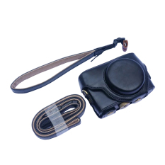 OEM Camera Case For Sony RX100 Removable PU Leather Cover With Tripod Screw Belt Loop Hand And Shoulder Strap Black Color