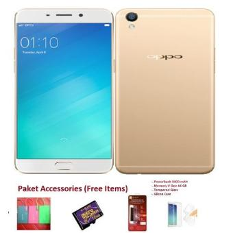 OPPO F1s Selfie Expert 4G - 32GB - Gold + Free Paket Accessories (4 Items