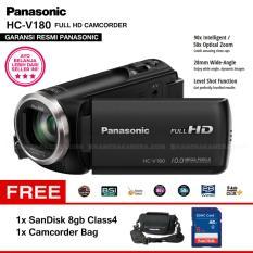 PANASONIC HC-V180 Handycam 28mm WIDE 10.0MP 90x Intelligent Zoom 5 Axis HYBRID FULL HD Camcorders (Garansi Resmi) + SanDisk 8gb + Camcorder Bag