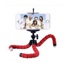 Portable Phone Holder Digital Camera Flexible Octopus Leg Tripod Bracket Stick Adapter Mount Monopod Bubble (Red) - Intl