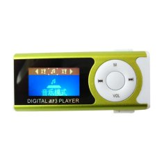 Portable Shiny Mini USB Clip LCD Screen MP3 Media Player Support 16GB Micro SD Card Green