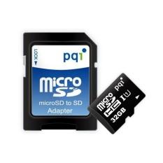 PQI Micro SDHC UHS-1 Class 10 Kartu Memori + Adapter - 32GB