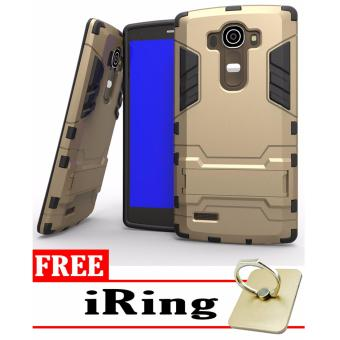 ProCase Shield Rugged Kickstand Armor Iron Man PC+TPU Back Covers for LG G4 - Gold + Free Tempered Glass