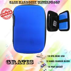 Promo Case harddisk Hard Case Shockproof Tas Hardisk / Powerbank Tahan Banting for External HDD 2.5 inch Pouch Bag - Biru - Free Otg Mini Usb + Kabel Charger Micro + Pop Socket