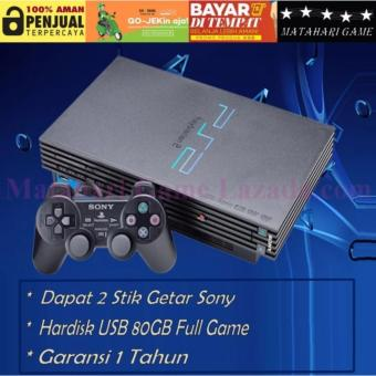 PS2 Paket Full - Sony Playstation Fat HDD 80GB + Free 2 Stik Getar Sony