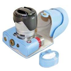 PU Leather Camera Case For Fujifilm X-A3 XA3 16-50/18-55mm Lens (Blue)