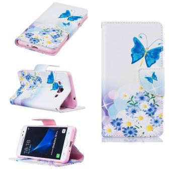 PU Leather Flip Fold Wallet Case for Samsung Galaxy J3 Pro (BlueButterfly) - intl