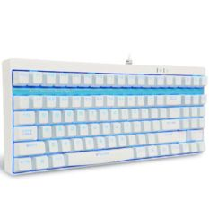 Rapoo USB Cable 87 Keys WHITE Mechanical Keyboard V500S With YELLOW Switches And Blue Backlight - Intl