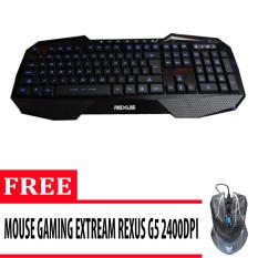 Rexus Keyboard Gaming Extream K1 - Hitam + Gratis Mouse Rexus Gaming 3D Rxm G5 - Hitam