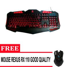 Rexus Keyboard Gaming Extream K1 - Hitam + Gratis Mouse Rexus Gaming Wireless 3D Rx110 - Hitam
