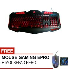 Rexus Keyboard Gaming Extream K7M + Gratis Mouse Epro EM009L + MousePad HEro High Quality All - Hitam