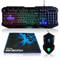 Rexus Keyboard Mouse Combo + Mousepad Gaming VR1 Warfaction Backlight - Hitam