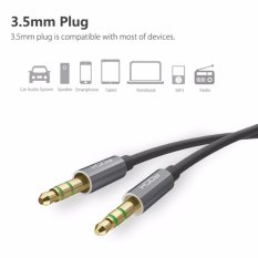 ROCK JACK 1M Male To Male 3.5mm To 3.5mm Universal Auxiliary Audio Stereo Cable Gray - Intl