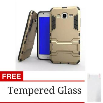 Jual Rugged Kick Stand Slim Armor Iron Man Back Case Samsung Galaxy J2 Prime - Gold