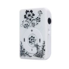 S & F 32GB Mini Clip Flower Pattern MP3 Player Music Media Support Micro SD TF Card (White)