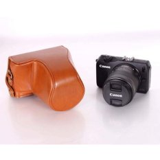 S & F Brown PU Leather Camera Bag Case Cover For Canon EOS M 18-55mm