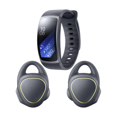 Samsung Gear IconX SM-R150NZKAXSE - Hitam + Samsung Gear Fit 2 Long Strap SM-R3600DAAXSE - Dark Grey