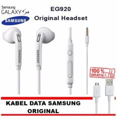 Samsung Handsfree Galaxy S6 Stereo + GRATIS Samsung Micro USB Data Cable Original - Putih (White)